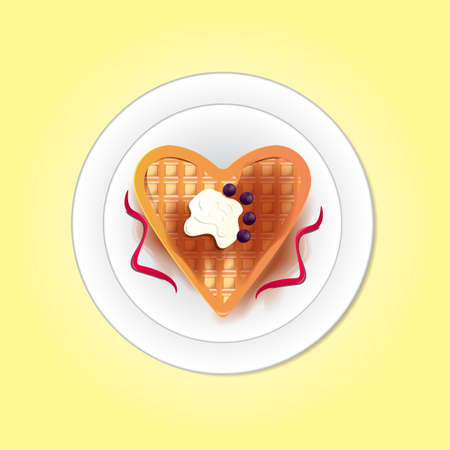 heart shaped: Belgium heart shaped waffle