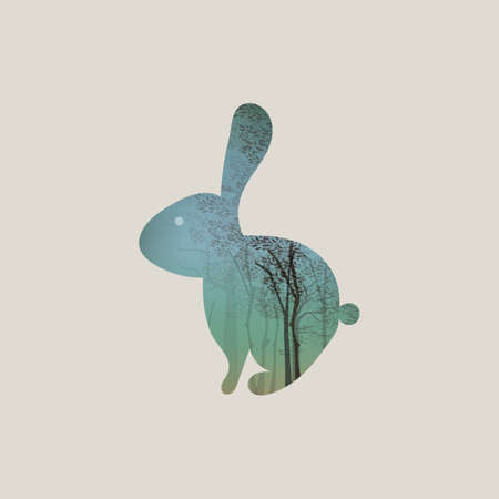 Double exposure rabbit and forest Illustration