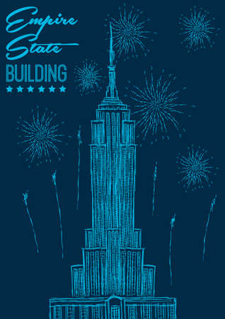 the empire state: Empire state building poster Illustration