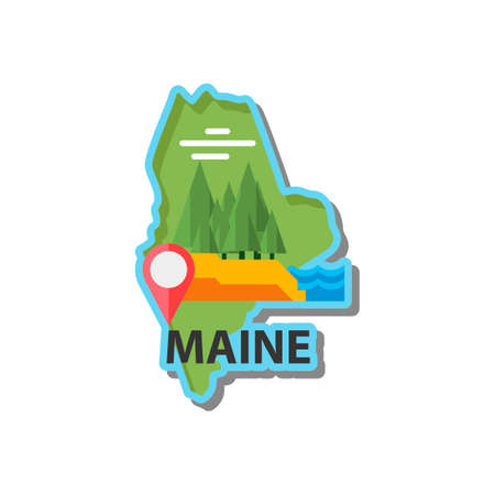 maine: Map of maine state