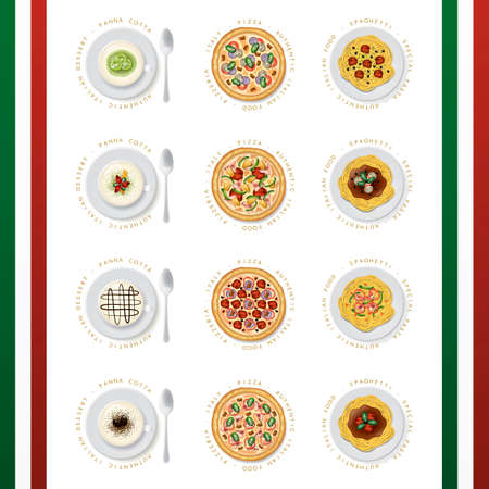 Collection of italian food