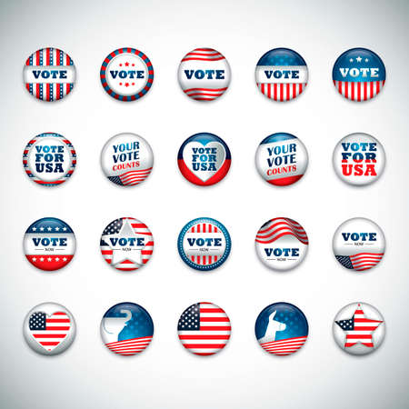 political party: Collection of USA button badge