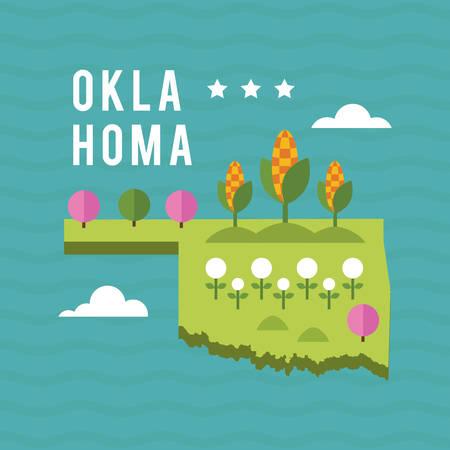 oklahoma: Map of oklahoma state Illustration
