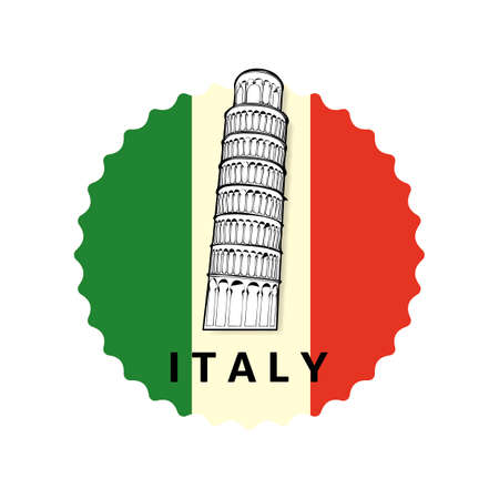 leaning tower: Leaning tower of pisa label Illustration