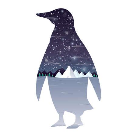 Double exposure penguin and winter landscape Illustration
