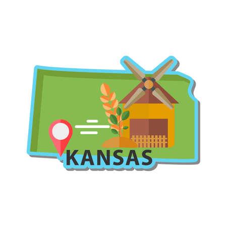 KANSAS: Map of kansas state Illustration
