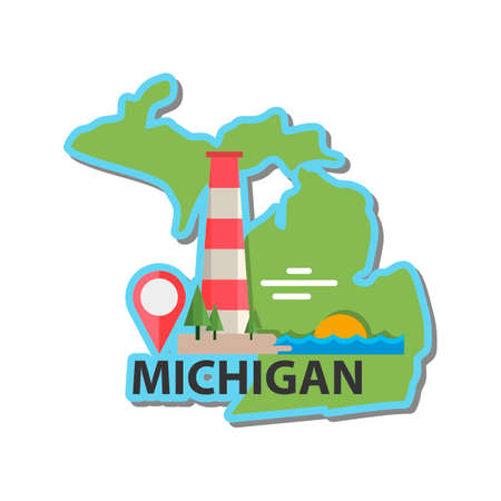 michigan: Map of michigan state Illustration
