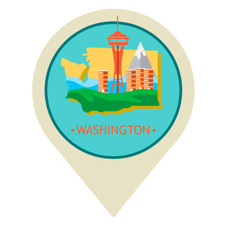 space needle: Map pointer with washington state Illustration