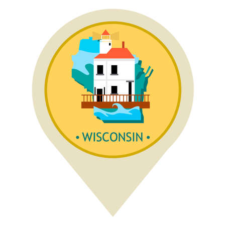 wisconsin state: Map pointer with wisconsin state Illustration