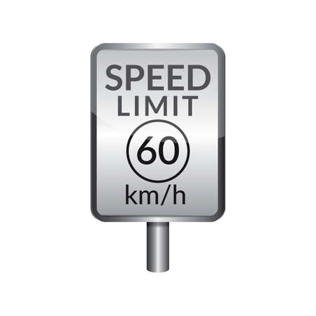 signboard: Speed limit 60 signboard Illustration