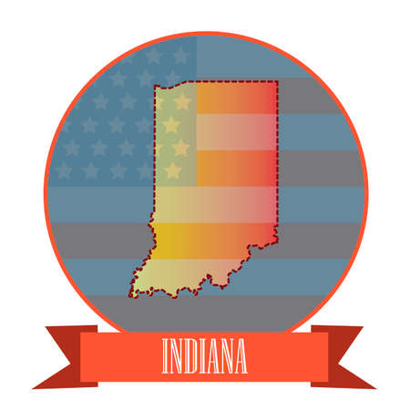 indiana: Map of indiana state Illustration