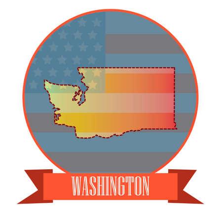 double exposure: Map of washington state Illustration
