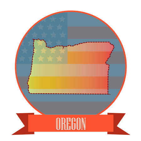 oregon: Map of oregon state Illustration