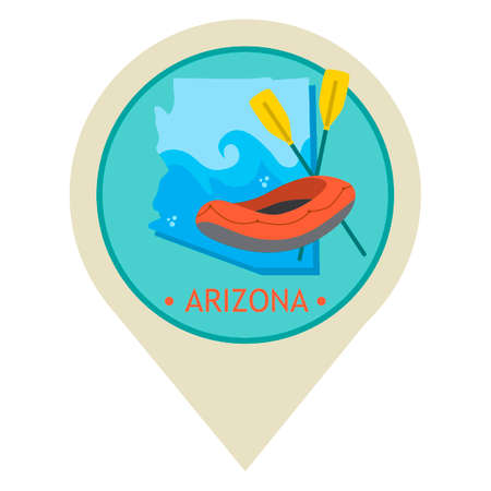 grand canyon: Map pointer with arizona state