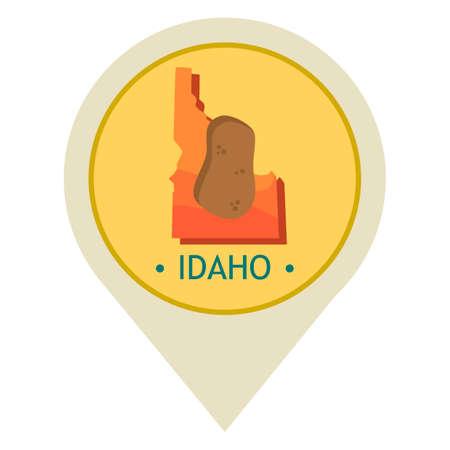 idaho: Map pointer with idaho state