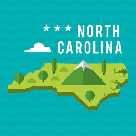 carolina: Map of north carolina state Illustration