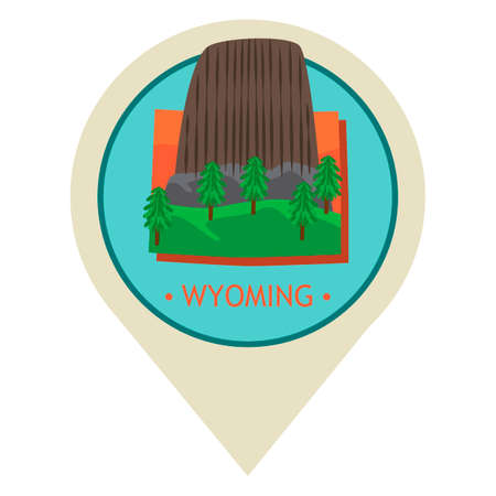 Map pointer with wyoming state Иллюстрация