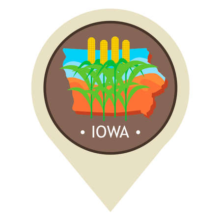 iowa agriculture: Map pointer with iowa state