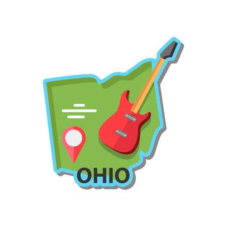 scarlet: Map of ohio state Illustration