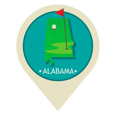 alabama state: Map pointer with alabama state Illustration
