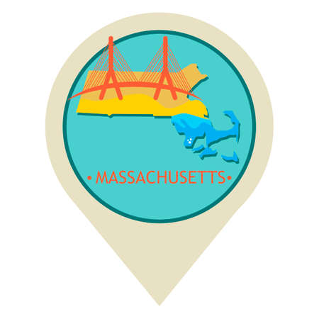 map pointer: Map pointer with massachusetts state