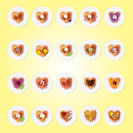 waffle: Set of Belgium heart shaped waffle