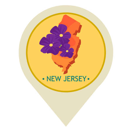 new jersey: Map pointer with new jersey state Illustration