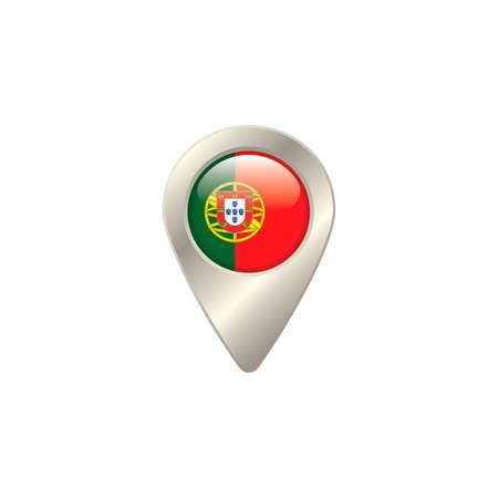 drapeau portugal: Broches de localisation avec le drapeau du Portugal Illustration