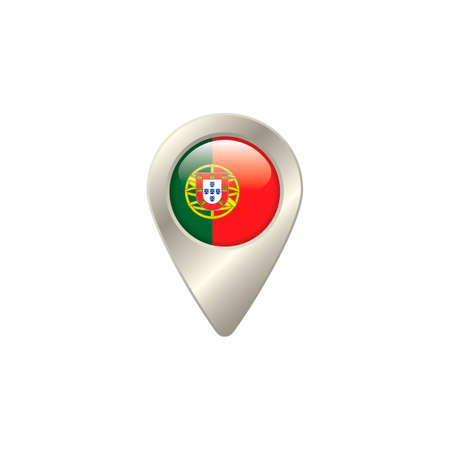 portugal flag: Location pin with portugal flag