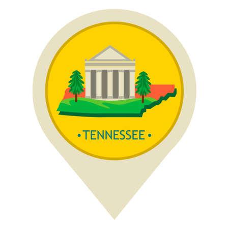 tennessee: puntero del mapa con el estado de Tennessee Vectores