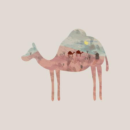 exposici�n: Camello Doble exposici�n y el desierto Vectores