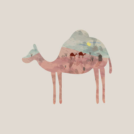 hump: Double exposure camel and desert