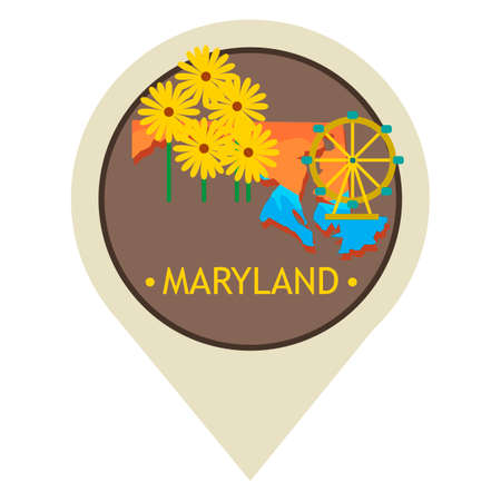 maryland: Map pointer with maryland state