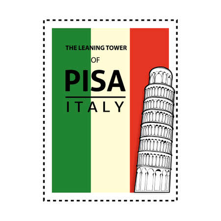 Leaning tower of pisa stamp Illustration