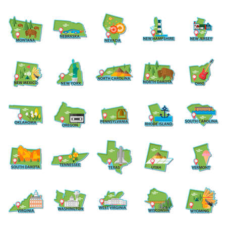 mines: Set of USA maps icons Illustration