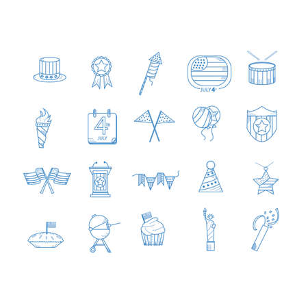 party poppers: American independence day icons Illustration