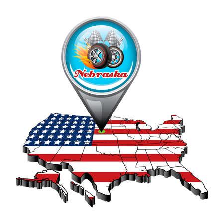 nebraska: US map with pin showing nebraska state