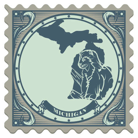 wolverine: Michigan state postage stamp Illustration