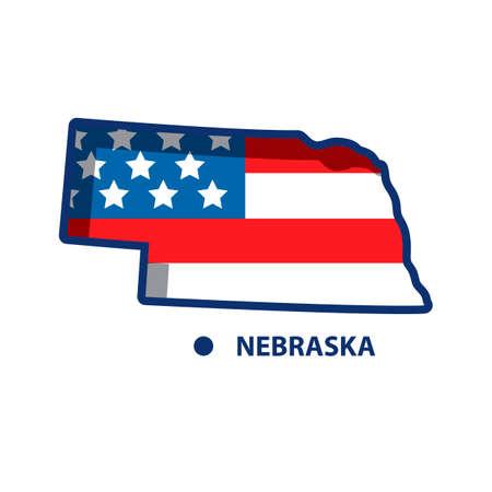 nebraska: Map of nebraska Illustration