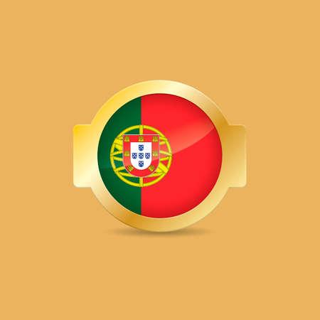 drapeau portugal: Portugal �tiquette drapeau Illustration