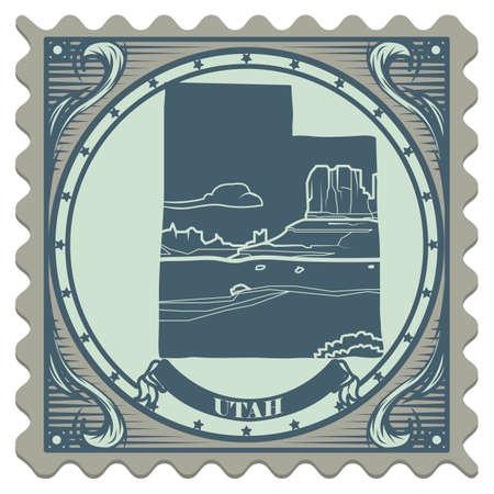 postage: Utah state postage stamp