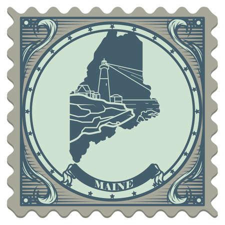 maine: Maine state postage stamp