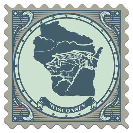 wisconsin state: Wisconsin state postage stamp Illustration