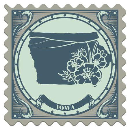 iowa: Iowa state postage stamp