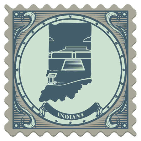 indiana: Indiana state postage stamp Illustration