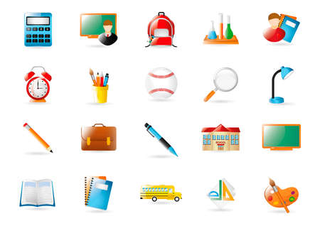 test tube holder: Collection of school icons Illustration