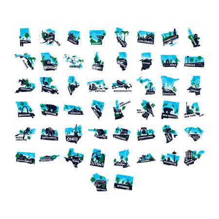 Vijftig staat van de VS Stock Illustratie