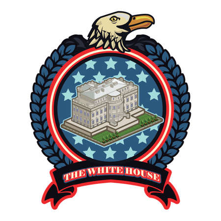 president of the usa: The white house label Illustration
