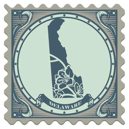 peach blossom: Delaware state postage stamp Illustration