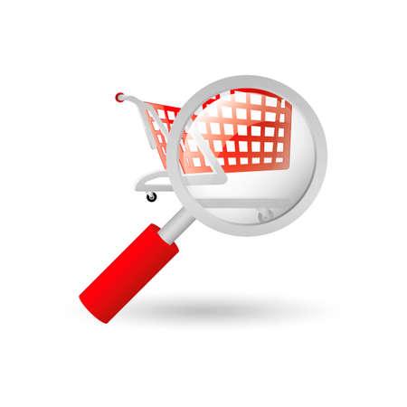 push cart: Shopping Push cart and magnifying glass Illustration